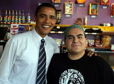 Barak Obama and Eleazar Delgado